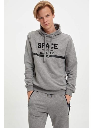 DeFacto Kapüşonlu Baskılı Slim Fit Sweatshirt Gri